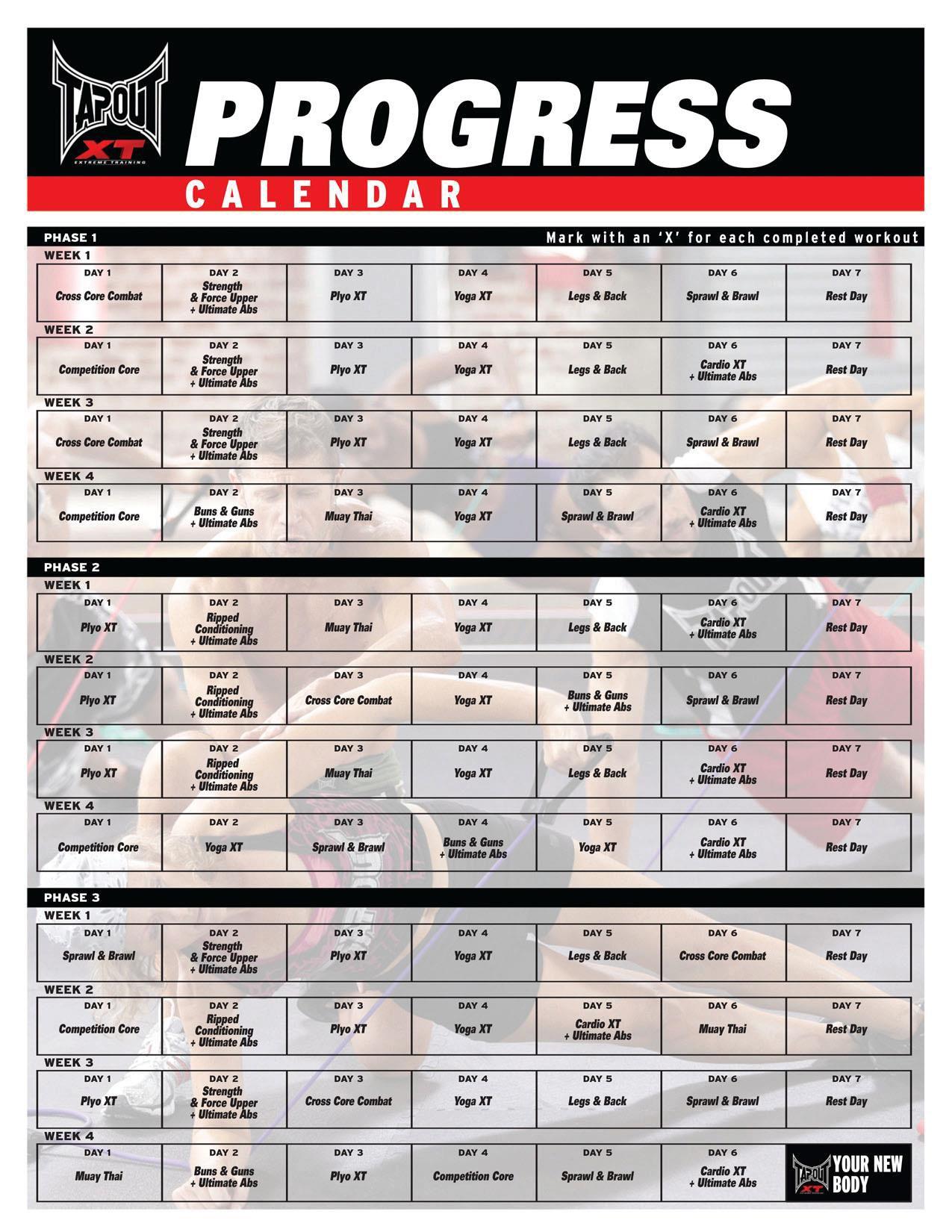 Workout Calendar Ideas : Tapout xt workout schedule calendar