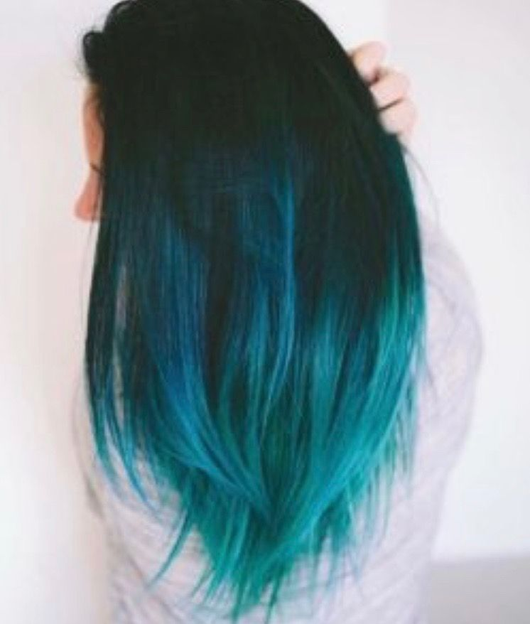 Melted Color Hairstyle Dark Blue Roots With Teal Ends Hair Dye