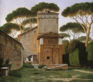 Christoffer Wilhelm Eckersberg  Den såkaldte Raphaels Villa i Villa Borgheses Have i Rom, 1814/16  Olie på lærred, 27,5 x 24,5 cm  Hamburger Kunsthalle