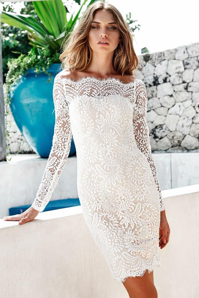 54ed5ce15ff Bodycon Off The shoulder Long Sleeve White Lace Dress