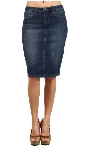 542427ac8bd DENIM PENCIL SKIRT STRETCH MEDIUM DARK WASH FRONT ZIP S M L in Skirts