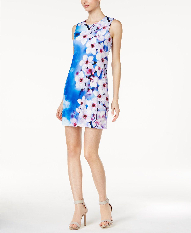 540e2ab1e9f3c Calvin Klein Floral-Print Jersey Dress | macys.com | Macy's | White ...