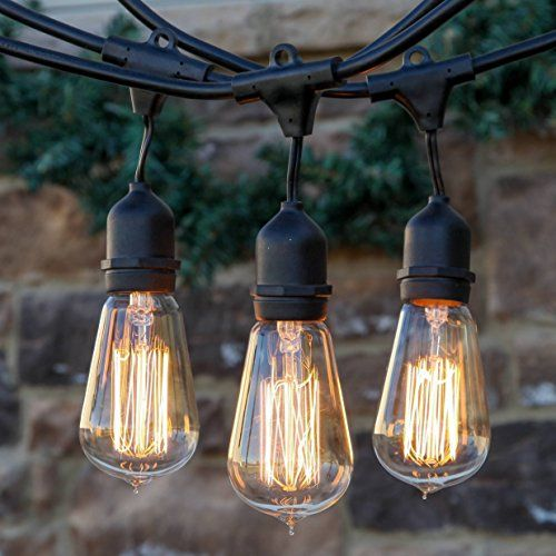 Brightech U2013 Ambience Pro Vintage Edition Outdoor Commercial String Lights  With Nostalgic Edison Bulbs U2013 48