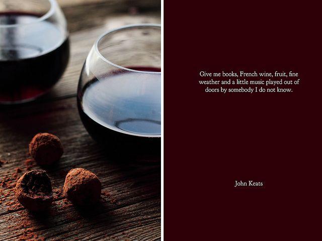 Red wine chocolate truffles
