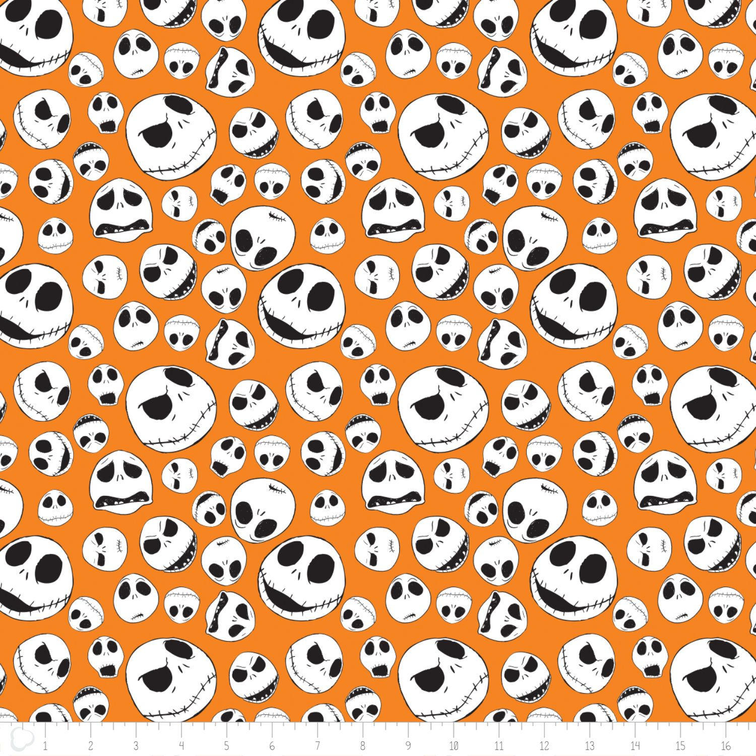 Disney Christmas Fabric By The Yard.Disney Nightmare Before Christmas Jack Faces Orange Cotton