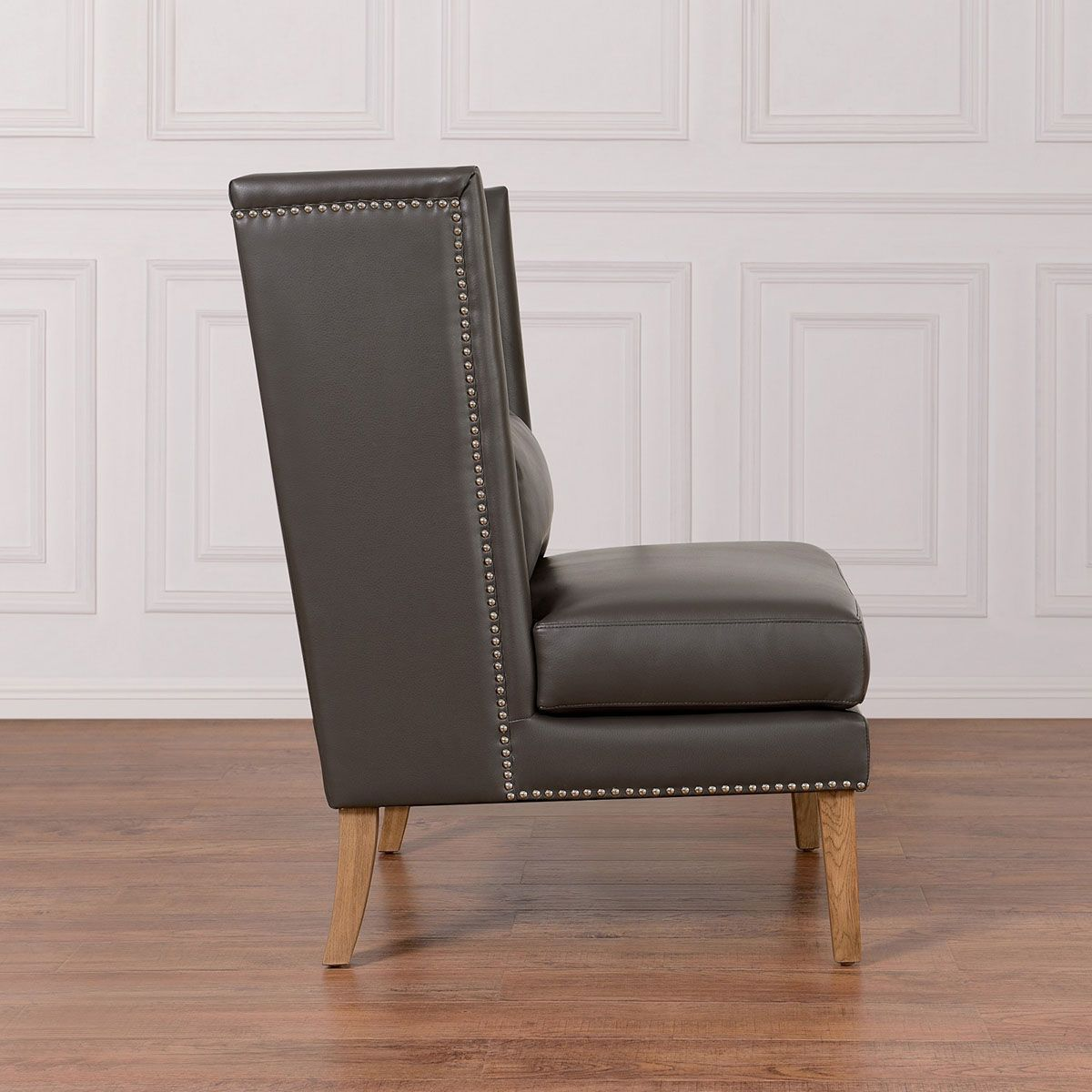 TOV Furniture Chelsea Grey Leather Wing Chair TOV CHE GBL