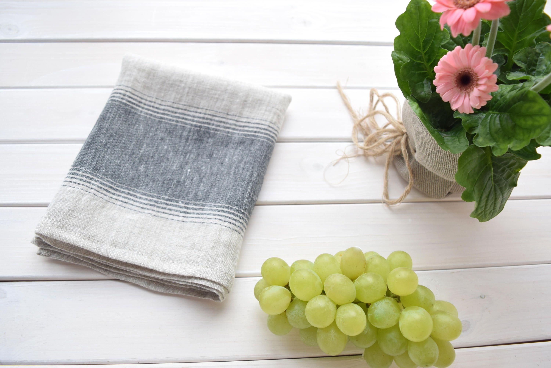 Extra Stripe kitchen towel, Houserwarming towels, rustic linen ...