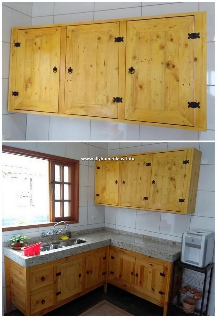 Kitchen Areas Of The House Will Look Always Breath Taking When They Are Equipped With The Wood Pallet Cabin Pallet Kitchen Cabinets Pallet Kitchen Wood Pallets