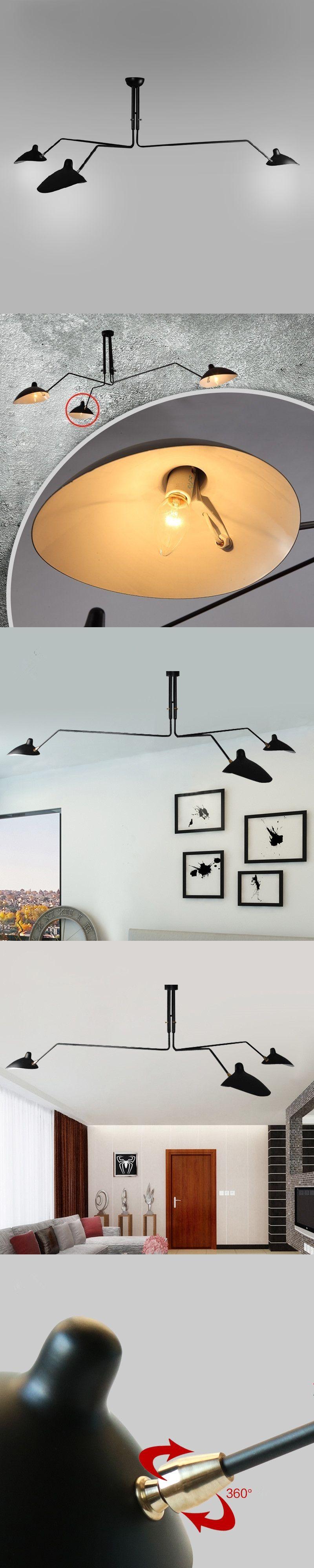 Modern Nordic Serge Mouille Chandelier Lighting Kitchen Dining Room Table Black Ceiling Lamp Light Fixtures DIY