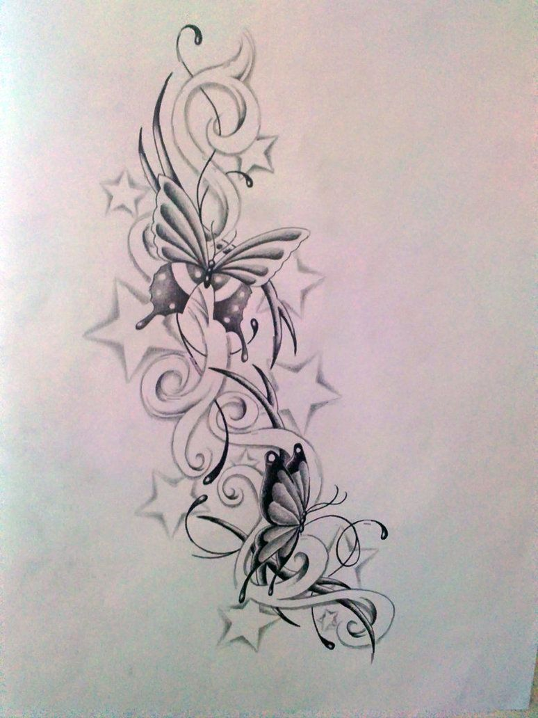 Butterfly And Star S By Ashtonbkeje On Deviantart Star Tattoos Star Tattoo Designs Flower Tattoos