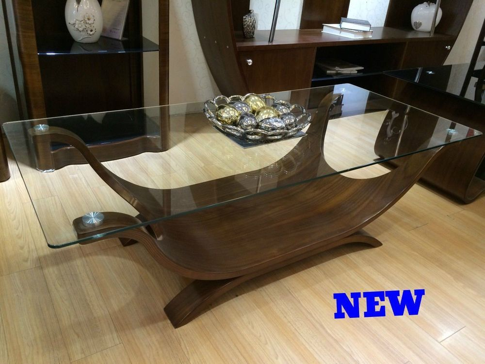 Unique Coffee Table Unusual Boat Shaped Glass Top Designer Modern