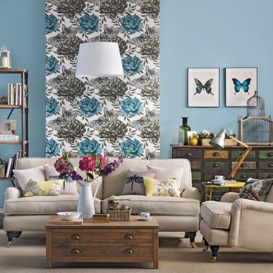 Floral Feature Wall Living Room  Living Room  Photo Gallery Classy Wallpaper Living Room Ideas For Decorating Inspiration Design