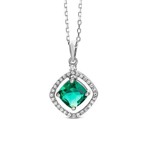 1.16ct Stardust Emerald and Diamond Halo Silver Pendant (WHITE GOLD) 372cRnsOeC