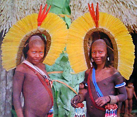 Altamira, Brazil. Two Kayapo Indian elders with bead