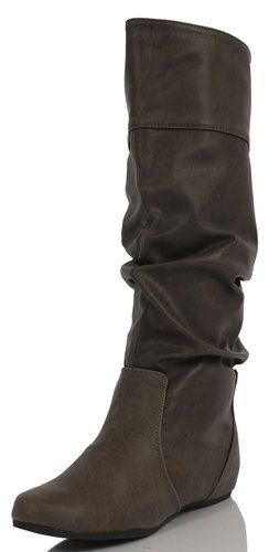 dafca270abe Stone Grey Slouchy Faux Leather Hidden Wedge Knee HIgh Back Slit Flats Boot  TAIL 10