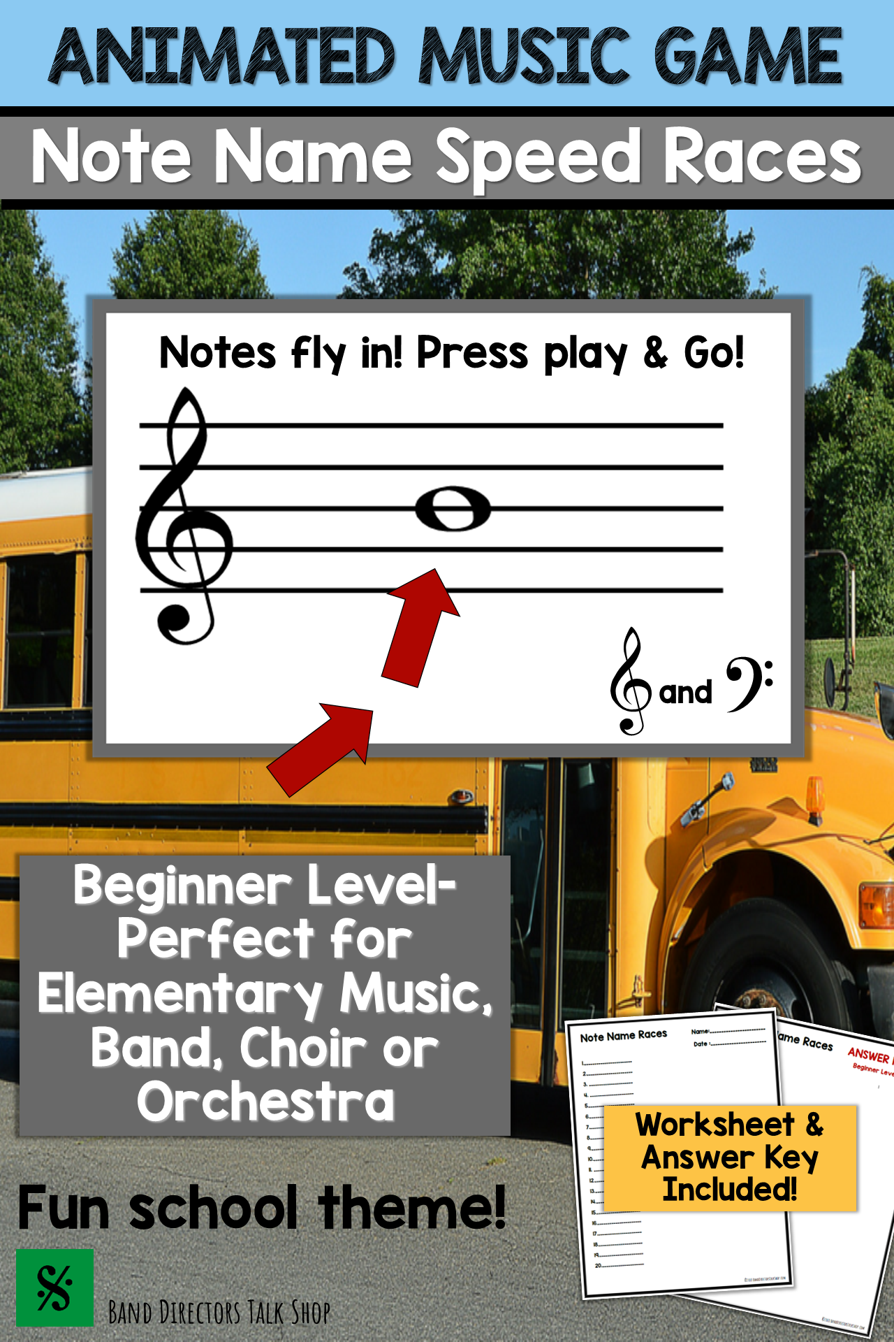 Back To School Music Activities Animated Note Name Music