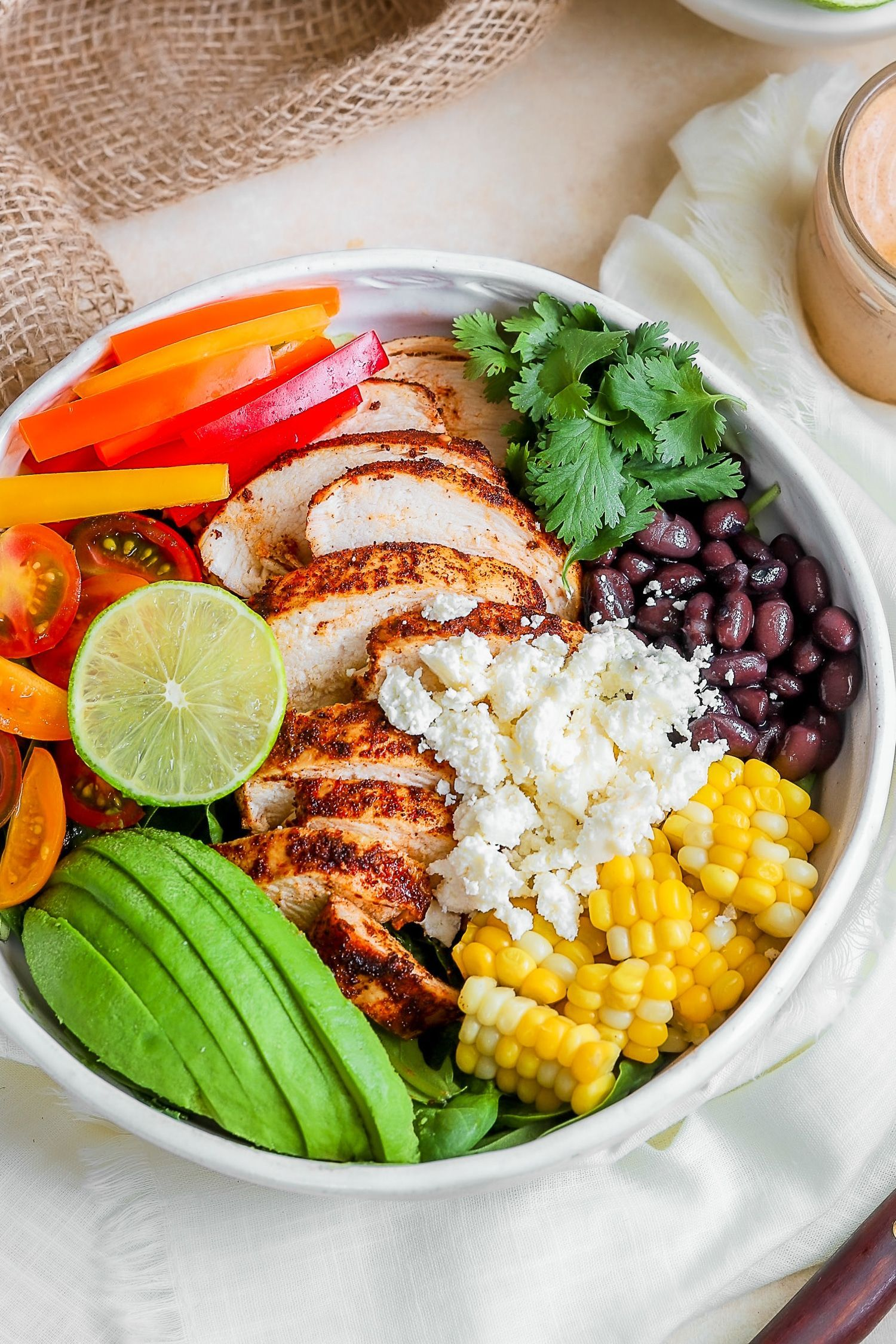 A Southwest Chicken Salad without dressing, chicken