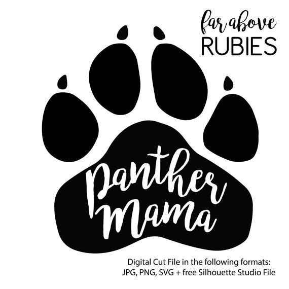 Panther Paw Mama School Pride Mascot Svg Png Jpg Digital