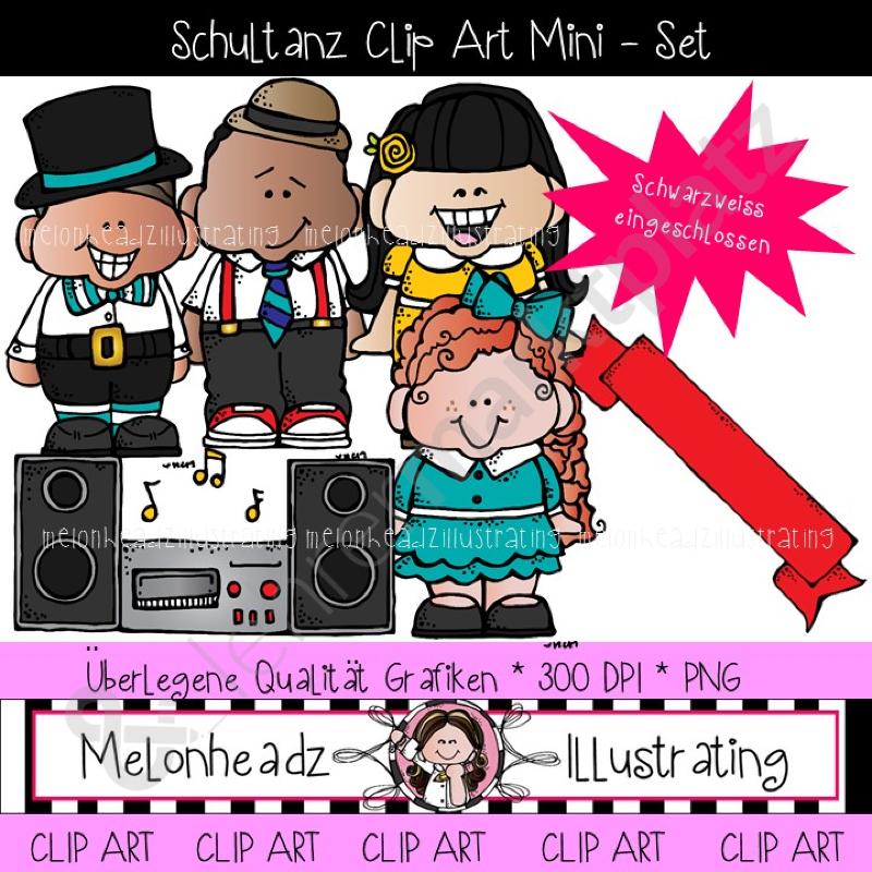 Clip Art: Schule Tanz Mini - Set (farbig und schwarz - weiß) – DaZ ...