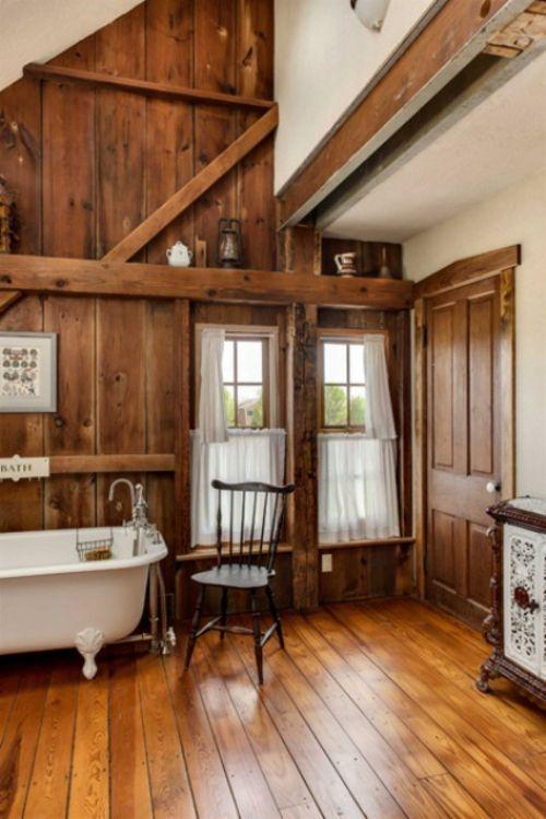 badezimmer design ideen holz bodenbelag badewanne beine wohnen - badezimmer aus holz