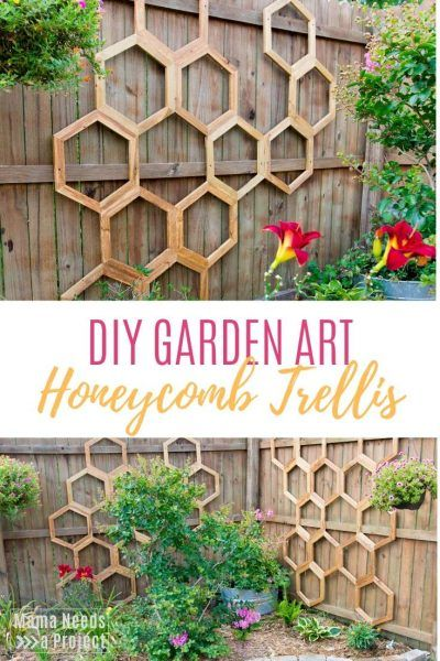 Honeycomb Garden Trellis is part of Diy garden trellis, Diy trellis, Garden trellis, Diy landscaping, Unique gardens, Garden projects - Learn how to build a DIY garden trellis in a trendy honeycomb style with a free tutorial and downloadable woodworking plans