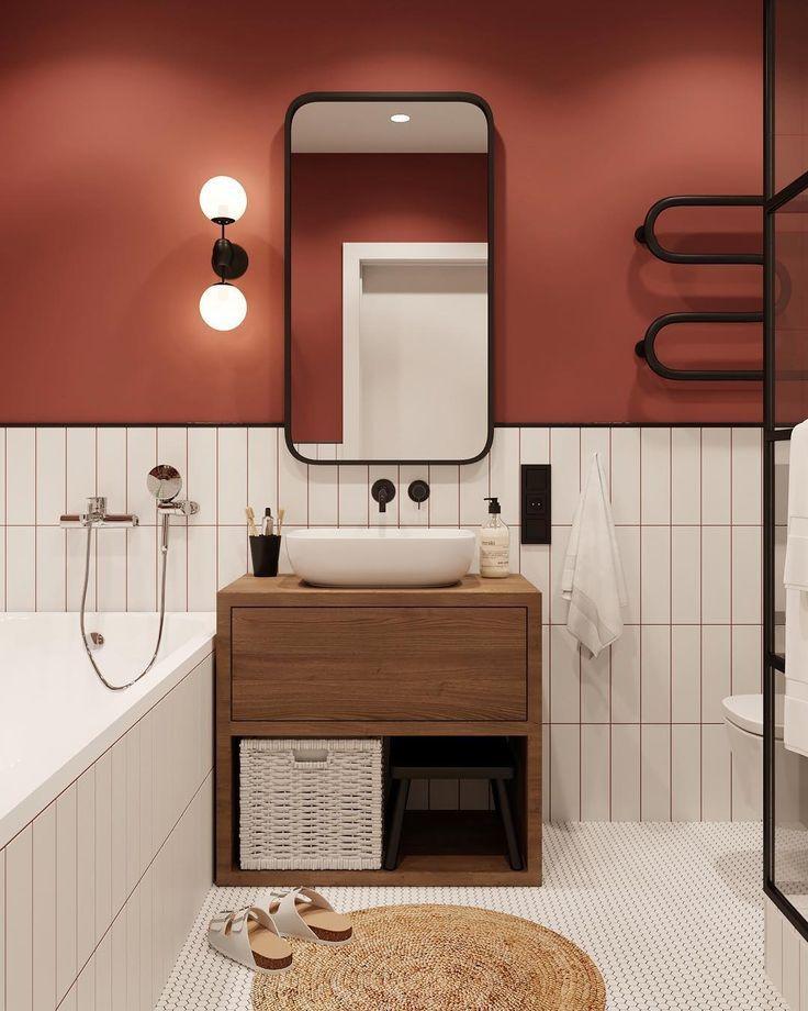 Bathroom design with color, #bathroom #Color #Design #redhomeaccents