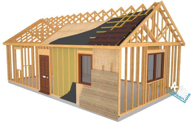 composition du kitmaisonbois murs d 39 ossature charpente menuiseries maison bois pinterest. Black Bedroom Furniture Sets. Home Design Ideas