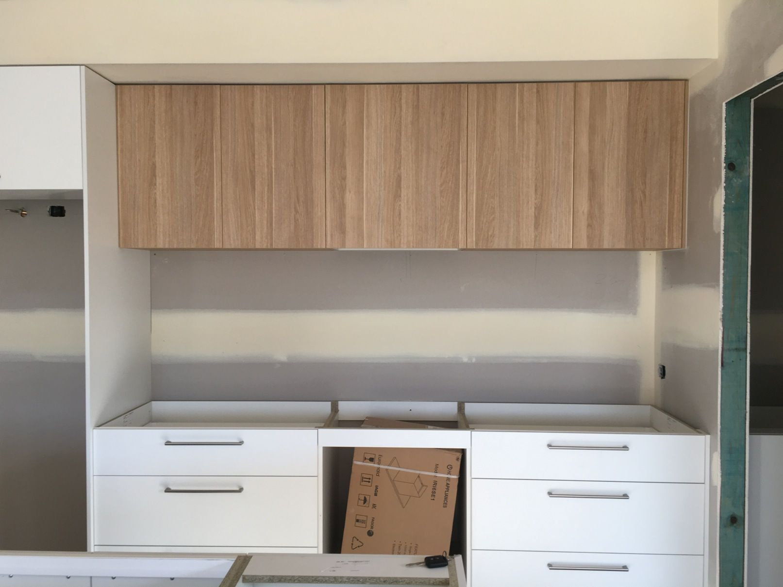 Modern Kitchen With Laminex Polar White Cabinets Polytec Natural Oak Revine Above Counter Cabinets Laminate Kitchen Cabinets Timber Kitchen Laminate Kitchen