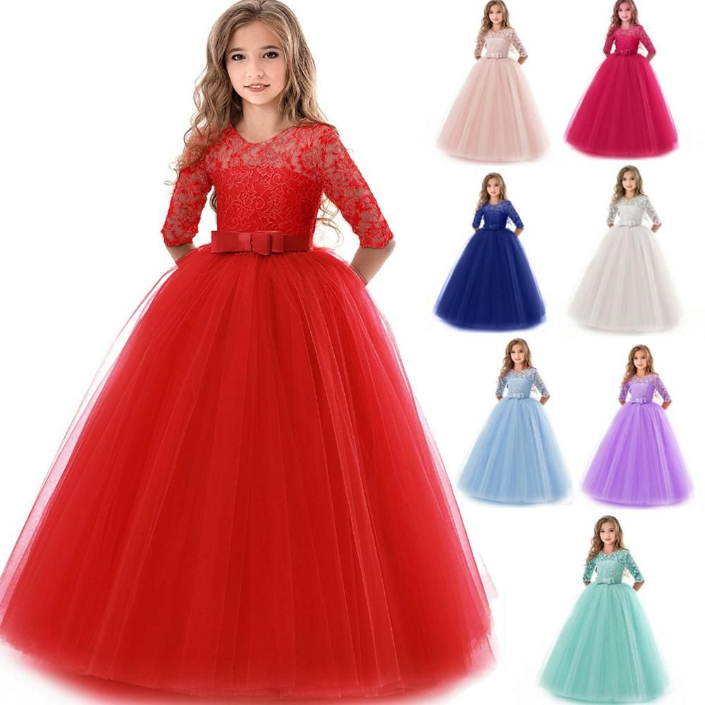 Department Name Childrengender Girlsmaterial Cotton Polyester Synthetic Leather Voiledresses Girls Lace Dress Girls First Communion Dresses Gowns For Girls