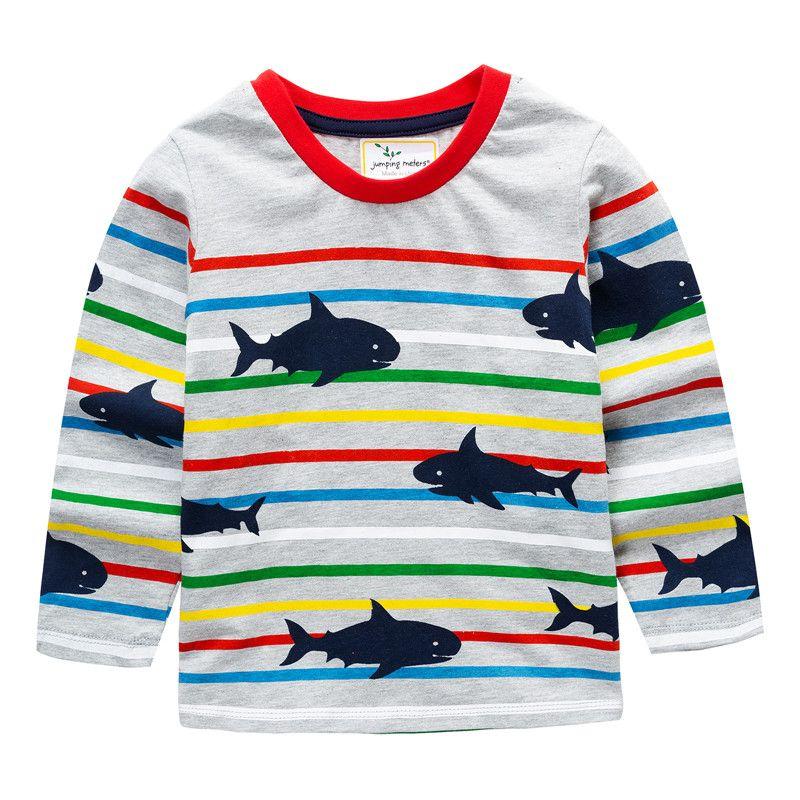 Trendy Shark Print Long-sleeve Tee for Toddler Boy and Boy KIDS