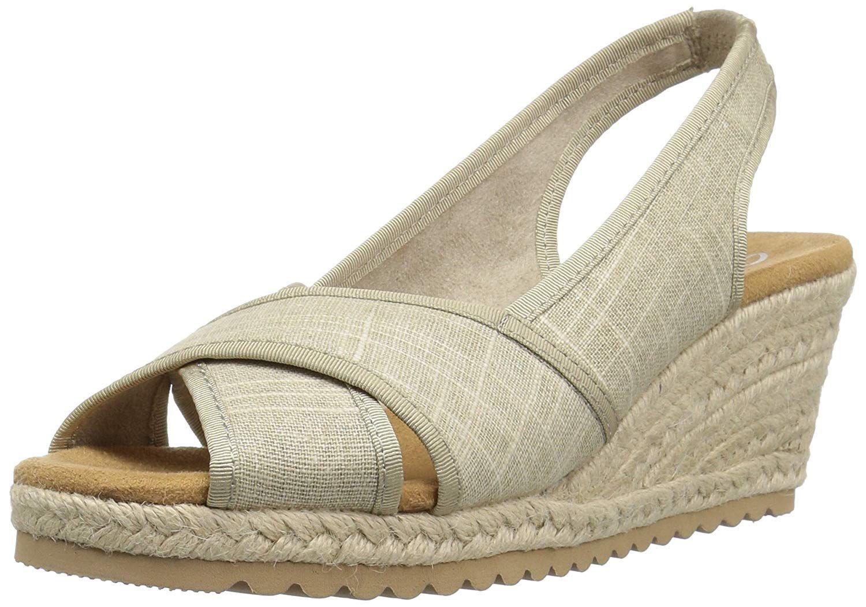 07de7376f3f Skechers Women s Monarchs-Cali Chill Wedge Sandal. Peep toe cross strap  sling-back with memory foam. Women s Shoes