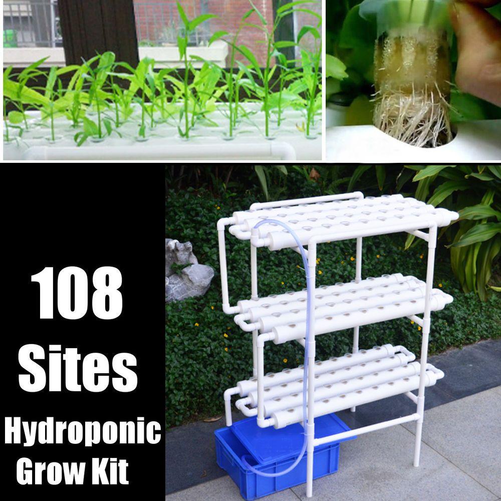108 Plant Sites Hydroponic Grow Set 12 Pipes 3 Layers Horizontal Balcony Garden Hydroponic Grow Kits Hydroponics Hydroponics Diy