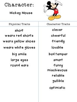 Identifying Character Traits And Physical Traits Chart Set Teacherspayteachers Com Character Trait Reading Workshop Character Education
