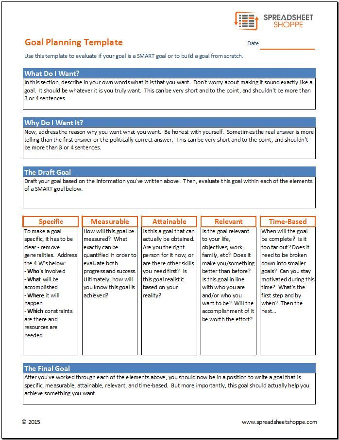 Goal Planning Template  Personal Improvement    Template