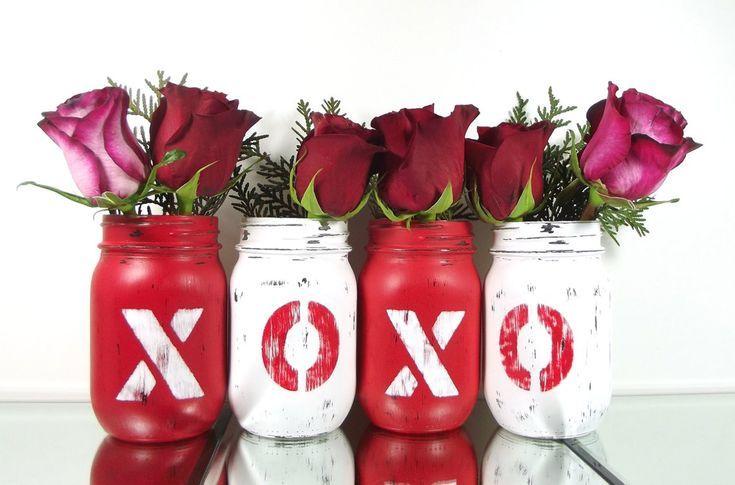 Valentines Day Decor, Mason Jar Home Decor, Festive Home Decor, Red Mason Jars, Colorful Home Decor,