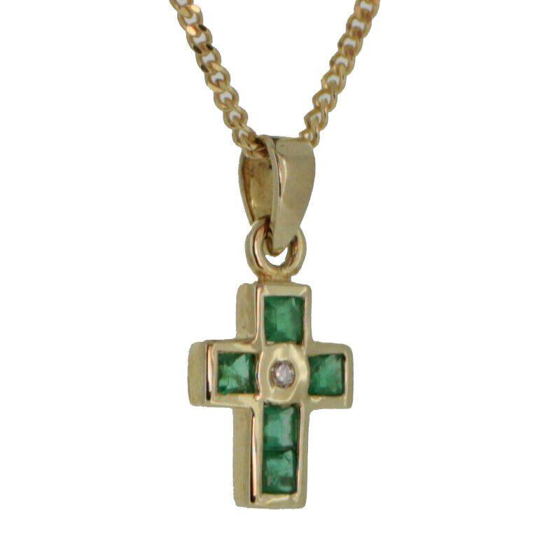 Kinder Kreuz Anhänger Echt Gold 585 zur Taufe Kommunion mit Kette Silber verg.