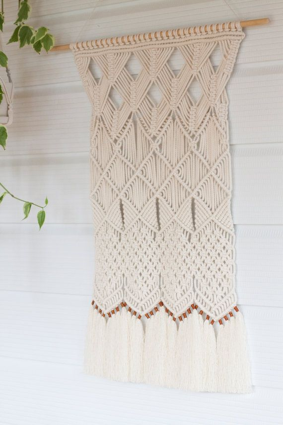 Autumn Macrame Wall Hanging // Handmade macramé wall hanging on a pine dowel, crafted using 5mm natural cotton cord with copper thread detailing. All materials used were made in New Zealand.  Measurements // Macramé hanging: 420mm width x 600mm length (approx. 1 4 x 1 11) Pine Dowel: 625mm length (approximately 2)  Inspired by the changing landscape of Autumn.  This item comes beautifully wrapped and ready for gift giving.  ------------------------------------------------...