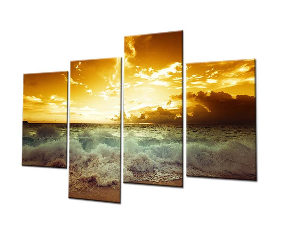 PF9006 Tide! - Printed & Internal Framed 4 panel oil painting on ...