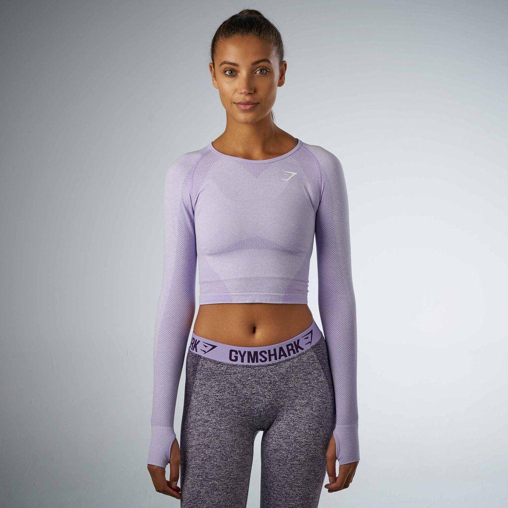 19df914c2846 Gymshark Seamless Long Sleeve Crop Top - Soft Lilac Marl at Gymshark ...