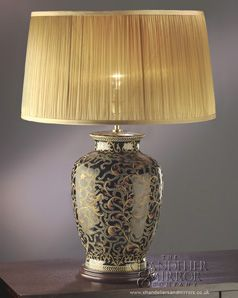 Jules Black Gold Patterned Table Lamp With Gold Chiffon