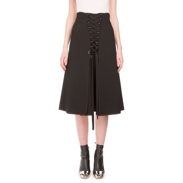 Proenza Schouler High-Waist Lace-Up A-Line Skirt ($1,450) ❤ liked on Polyvore featuring skirts, black, women's apparel skirts, proenza schouler, high waisted a line skirt, high waisted knee length skirt, high waisted skirts and high-waisted skirts