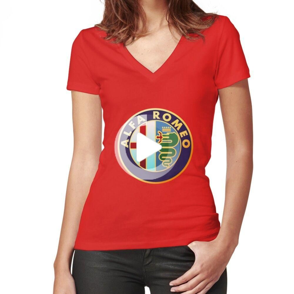 Alfa Romeo – Classic Car Logos Women's Fitted V-Neck T-Shirt