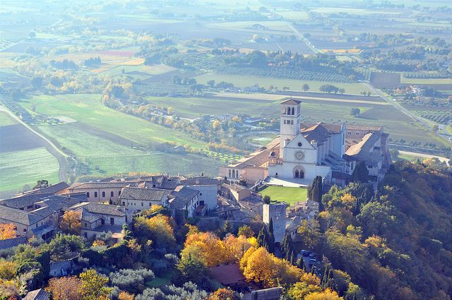 View from Rocca Maggiore overlooking the Basilica - Assisi and to the plain below