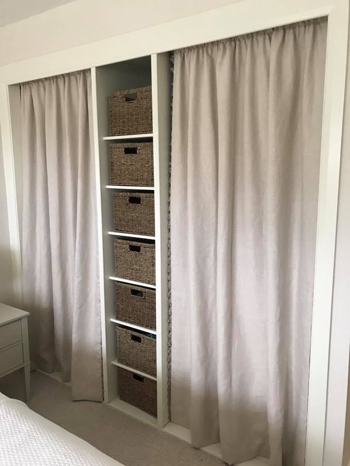 Soft Linen Curtains With A Fan Edge Trim Instead Of Doors On A