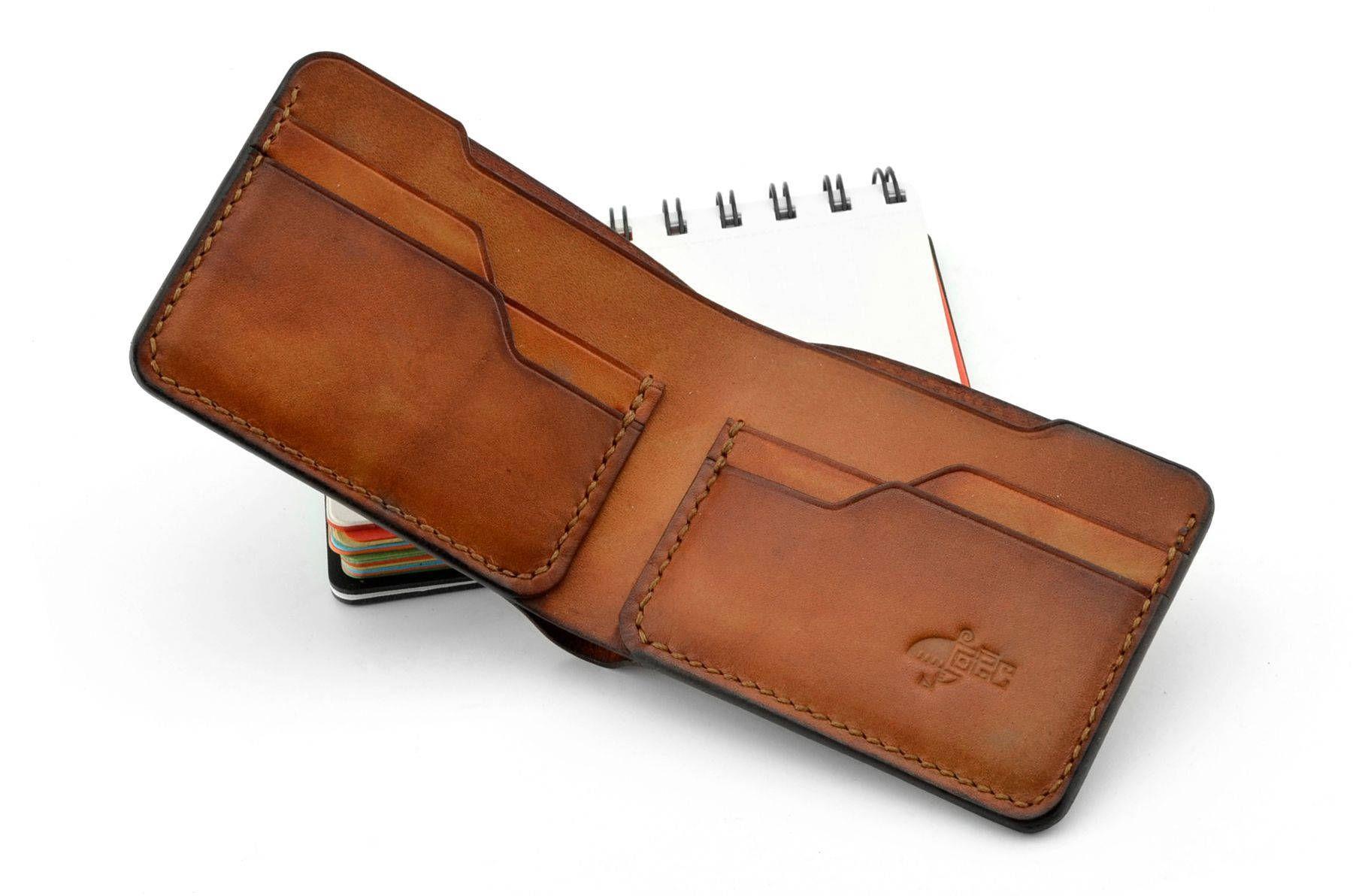 mirada detallada ca025 29341 SLIM cosido a mano Monedero de cuero Bifold, cartera delgada ...