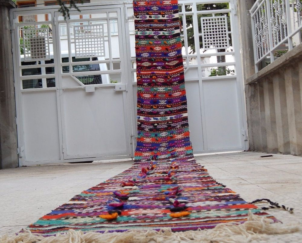26 Foot Vintage Extra Long Narrow Handmade Staircase | Hallway Carpet Runners By The Foot