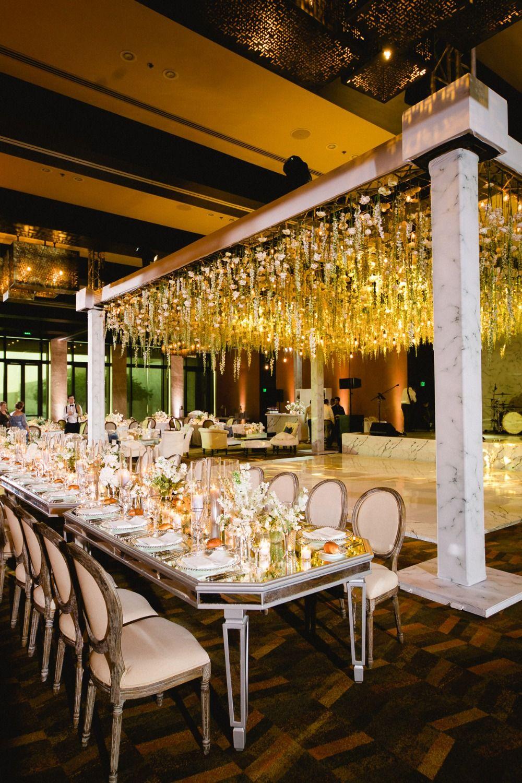 Classic And Elegant Black Tie Wedding Under A Canopy Of Flowers Wedding Decor Elegant Fun Wedding Decor Black Tie Wedding Reception