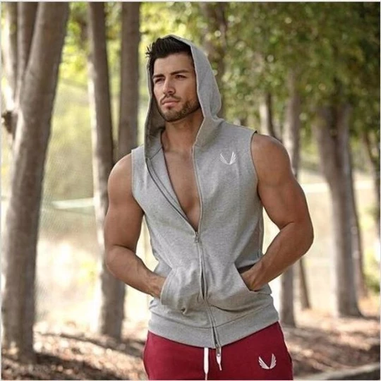 Mens Cotton Hoodie Sweatshirts Vest Zipper Fitness Bodybuilding Clothes Tank Top Sleeveless Tees Shi...