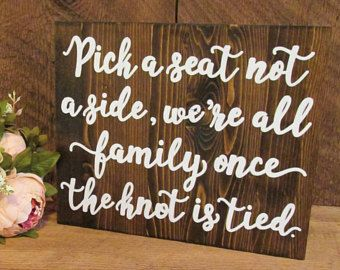 Pick a seat not a side, wedding seating sign, wedding ceremony sign ...