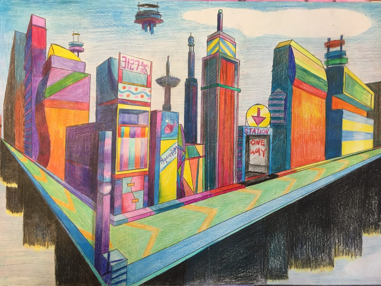 Two Point Perspective Futuristic City Drawing Jennifer Chen City Drawing Perspective Drawing Architecture Drawings